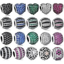Authentic 925 Sterling Silver Charm Bead Crystals Pave Fit 3mm European Bracelet
