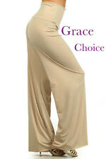 Palazzo pants-Solid KHAKI print, made with high quality fabric in U.S.A.