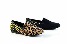 Therapy Shoes Bedford Ballet Flats Loafer Black Leopard Suede Size 6 7 8 9 10