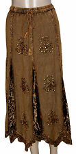 NEW! Gold Brown Velvet Trimmed Sparkly Sequins Luxury Gypsy Maxi Skirt Size 20