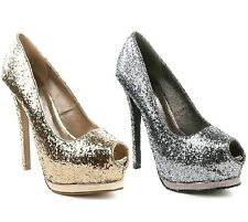 Qupid Peep toe Glitter Pump High Heel Platform Women's Shoes Champagne Pewter