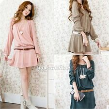 Womens Modal Loose OL Crew Neck Tops Jumper Shirt  Mini Pleated Skirt New Dress