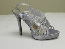 De Blossom Women's Isabel-2 Classy Sexy Silver Satin Rhinestone Dress High Heels