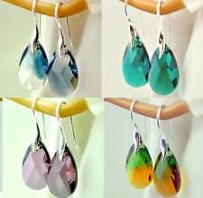 NEW HOOK *ALMOND* 22 mm - SILVER 925 EARRINGS WITH SWAROVSKI STONES - 45 COLORS