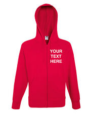 Zipped Hoodie Fruit of the loom plain or personalised name workwear team group