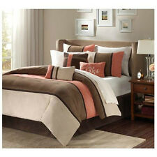 Beautiful and Elegant 7-piece Brown & Coral Comforter Set Queen King Cal King