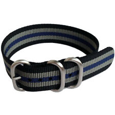 3-Ring Black Grey Blue Watch Strap, Military-Style Nylon Band with SS Buckle