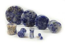 Blue Spot Organic Stone Double Sided Flare Gauges/plugs/Solid Saddle (1 Pair)