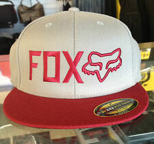 FOX MENS CAP 'METHODS' FLEX FIT HAT MX SKATE MOTORCROSS IN GREY FLAT PEAK BILL