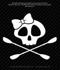 Skull With Bow and Oars Paddles Kayak Canoe 13.5 inch Vinyl Decal Sticker