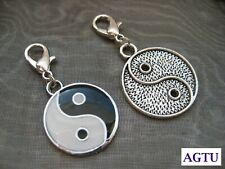 PICK YOUR CHARM ~ Clip On Silver Yin Yang Charm ~ Black & White or Silver