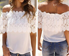 2015 Fashion Women Off Shoulder Casual Tops Blouse Lace Crochet Chiffon T Shirt