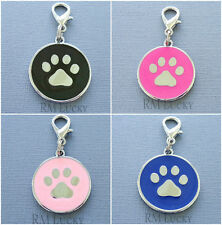 Pet Dog Cat Collar Charm Tag Pendant Paw Print Lobster Clasp zipper pull