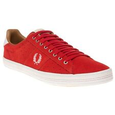 New Mens Fred Perry Red Howells Suede Trainers Plimsolls Lace Up