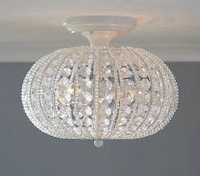 Pottery Barn Kids Clear Acrylic Round Flushmount Chandelier NEW