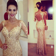 Gorgeous Long Lace Champagne Appliques Evening Dresses With Beads Prom Gowns