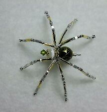 Christmas Spider Beaded Ornament, Gold Drizzled, White, Gold, Silver & Legend