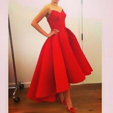 Elegant High Low Satin Red Prom Dresses Evening Party Ball Gowns Wedding Custom