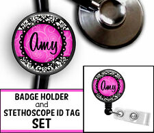 PERSONALIZED PINK DAMASK NURSE STETHOSCOPE ID TAG & RETRACTABLE BADGE SET