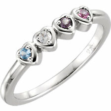 Mother's Day Jewelry Heart Ring Sterling SILVER Birthstone Ring 1-5 Stones