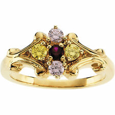 14K Solid Gold Mother's Ring 1 to 5 Birthstones, Moms family Jewelry Ring