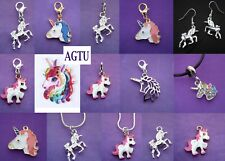 YOU PICK CHARM Clip On Silver Plated Unicorn Charm or  Earrings or Necklace