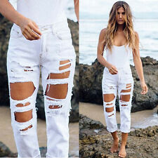 New High Waist Denim Destroyed Skinny Jeans Big Hole Pants Size S-XL