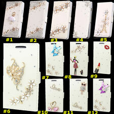 Cute Bling Crystal Diamonds PU leather flip slots book wallet case cover skin #1