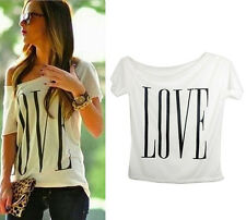 2015 Women Sexy Short Sleeve Summer Casual Love Loose T-Shirt Tops Blouse NEW