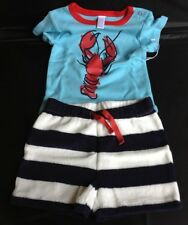 New Nordstrom Baby Boy Maine Lobster Navy Sailor Shorts Infant Outfit 3-18 Month