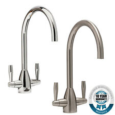 Modern Kitchen Monobloc Sink Mixer Tap Twin Lever Handle Chrome / Brushed Steel