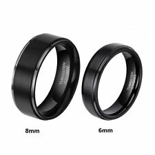 Black Tungsten Carbide Promise Ring Brush Center  Wedding Band Men Women Jewelry