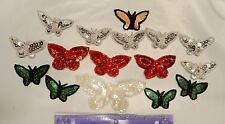 16 Sequin Beaded Butterflies Assorted colors and sizes Sew On Patches applique
