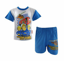 Boys Fireman Sam Cotton Shorty Pyjama Set White and Blue - All Ages