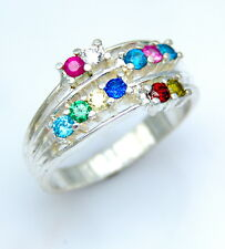 PERSONALIZED GRANDMOTHER  MOM  10 TO 16 BIRTHSTONES .925 STERLING SILVER RING