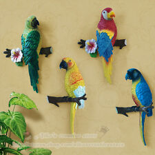 Tropics Vibrant Colored Macaw Parrot Resin Wall Statue, Home Hanging Wall Decor
