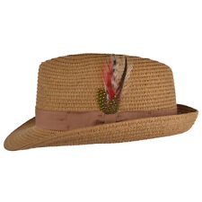 Mens Ladies Brown Packable Straw Summer Trilby  Hat With Band and  Feather New