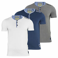 Mens T Shirt Brave Soul Surreal Y Neck Chambray Short Sleeve Casual Top