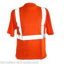 5 Pack Hi-Vis Orange T-Shirts Safety Hi-Vis Sizes M-5XL Reflective Stripes