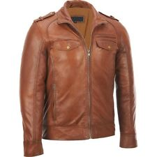 Zohran New Men Tan Premium Genuine Leather Jacket Slim fit Biker Motorcycle