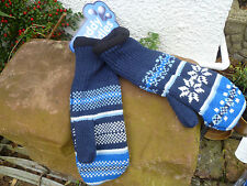 MUDDY PUDDLES FLEECE LINED FAIR ISLE KNITTED PERUVIAN MITTENS BLUE RED 10 14