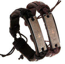 DIY Handmade Men Cuff Surfer Tribal Hemp braided Wrap Wrist Leather Bracelet CA