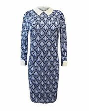 LADIES WOMENS CELEBRITY CHINA BLUE PETERPAN WHITE COLLAR CUFF FLORAL MIDI DRESS