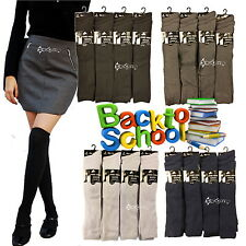 6 or 12 Pairs Girls Knee High Socks School Cotton Rich All Sizes Ladies