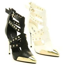 Black White Pointy toe Gold Strappy Pump High Heel Grommet Sandal Women's Shoes