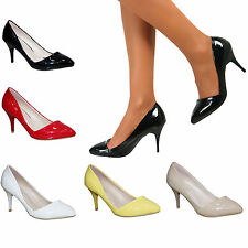 Ladies Patent Mid Stiletto High Heels Pointed Toe Corset Prom Court Shoes Size