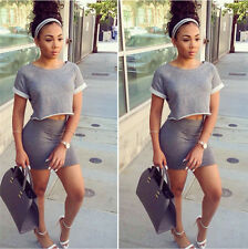 Women 2015 Sexy Two-piece cotton Crop Top and Bodycon Skirt Set Party Ball Dress