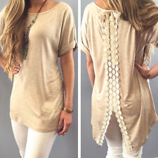 New Fashion Women Lace Short Sleeve T Shirt Casual Tops Ladies Summer Blouse