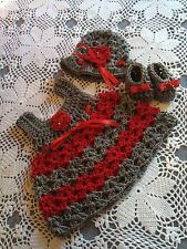 Handmade Crochet Baby Set Outfit Silver/red 3pc Dress Hat Shoes Sassy Girl