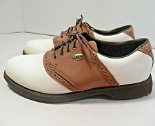 VINTAGE Women's Etonic Golf Saddle Shoes Soft Spikes Brown/White VERY NICE! 7 M